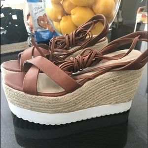 Forever 21 brown/straw wedge sandals size 37